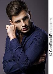 camisa, elegante, retrato, elegante, hombre, guapo