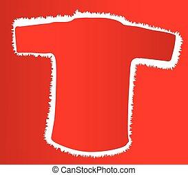 camisa, esboço, vermelho, t