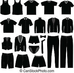 camisa, homens, pano, desgaste, macho, homem