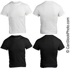 camisa, homens, pretas, modelo, em branco, branca