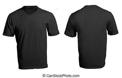 camisa, homens, pretas, modelo, em branco, v-neck