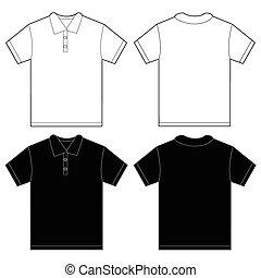 camisa, homens, pretas, modelo, pólo, desenho, branca