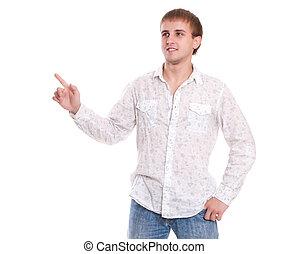camisa, jovem, isolado, direita, retrato, branca, mostrando, homem