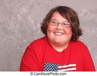 camisa, jovem, sorrindo, bonito, vermelho, homem
