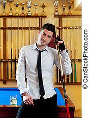 camisa, joven, señal, billiard, corbata, hombre, guapo