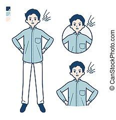camisa, man_anger, estante, simple, cuello