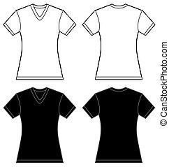 camisa, mulheres, pretas, modelo, v-neck, desenho, branca