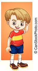 camisa, niño, feliz, rojo