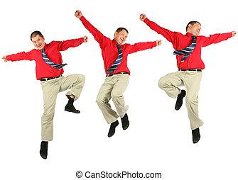 camisa, pulos, dinâmico, contente, pular, homem negócios,...