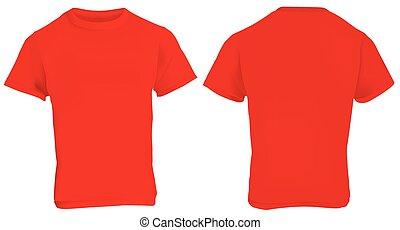 camisa, rojo, plantilla