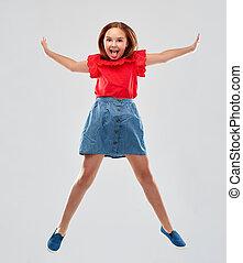camisa, saltar, sonriente, falda, niña, rojo, feliz