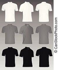 camisa, set., homens, cinzento, pretas, t, pólo, branca