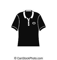 camisa, simples, homens, pretas, pólo, ícone