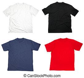 camisa t, roupa, em branco