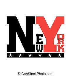 camisa, tipografía, york, estrellas, nuevo, t