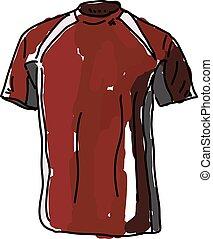 camisa, vector, fondo., ilustración, blanco rojo
