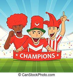 camisa, vector, partidario, fútbol, rojo