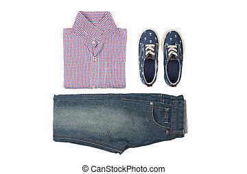camisa verão, calças brim, -, crianças, sneakers, desgaste, fundo, branca, acima