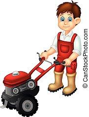 camisa, vermelho, caricatura, agricultor, trator