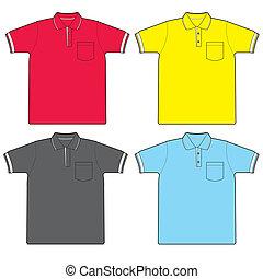camisa, vetorial, pólo
