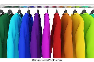 camisas, coloridos, cabides