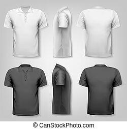camisas del polo, con, muestra, texto, space., vector.