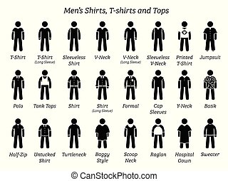 camisas, hombres, tops., camisetas