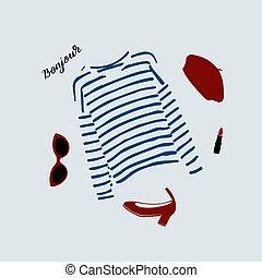 camiseta azul, parisiense, shoes, boina, ilustración, gafas...