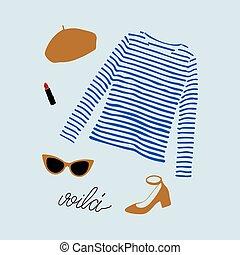 camiseta azul, parisiense, shoes, gafas de sol, ilustración,...