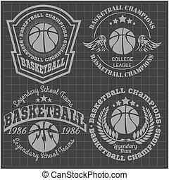 camiseta, -, baloncesto, emblema, campeonato