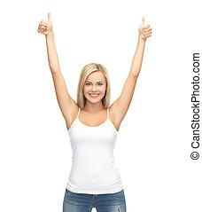 camiseta, blanco, mujer, blanco
