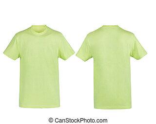 camiseta, blanco, verde, aislado, plano de fondo
