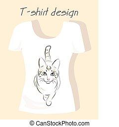 camiseta, diseño, silueta, contorno, gato