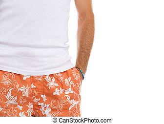 Camiseta, hombre, Primer plano, calzoncillos