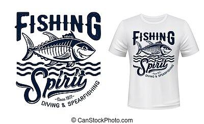 camiseta, impresión, mockup, vector, peces de atún, mascota