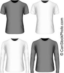 camiseta, largo-envuelto, variantes, breve -sleeved