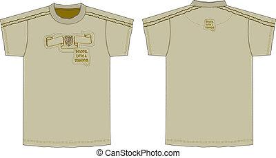 camiseta, mangas cortas, impreso, mens