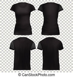 camiseta, mujeres, maqueta, negro, front+back
