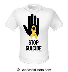 camiseta, parada, suicidio