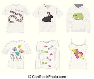 camiseta, plantillas, diseño