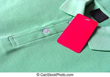 Camiseta,  polo, verde, etiqueta, blanco