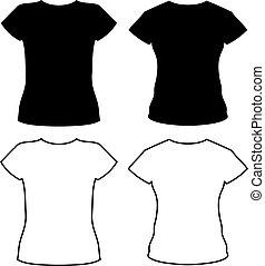 camiseta, siluetas, vector