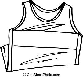 camiseta, sin mangas, bosquejo