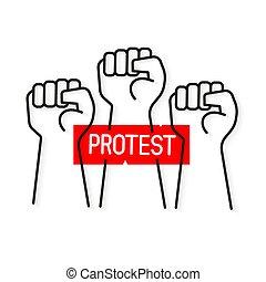 camiseta, vector, proletarian, protesta, printing., mano,...