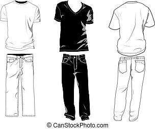 camiseta, y, pantalones, plantillas