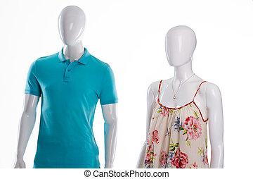 camiseta, y, sarafan, en, mannequins.