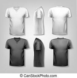camisetas, con, muestra, texto, space., vector.
