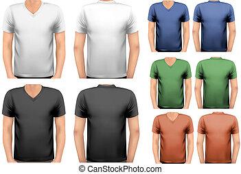 Camisetas, cor, homens, desenho, vetorial, pretas, branca,...