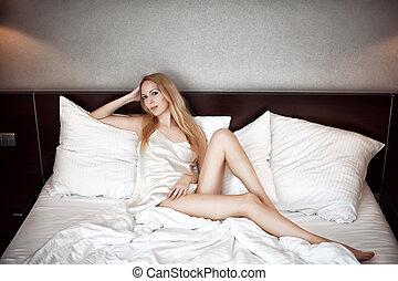 camisola, branca, langerie, seda, loura, mulher, bonito, desgastar