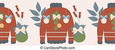 camisolas de malha, horizontais, decorações, borda, natal, flores